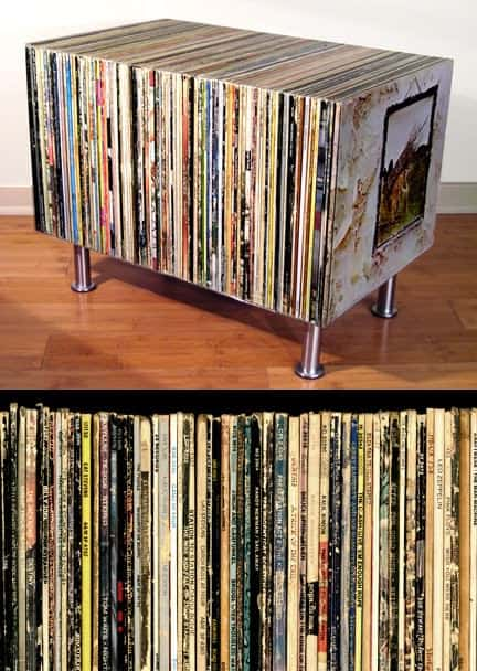 Vinyl LP Sleeve Coffee Table in vinyl records furniture  with Vinyls Coffee Table