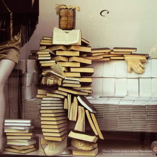 Books fellow in paper  with Recycled Art installation Books