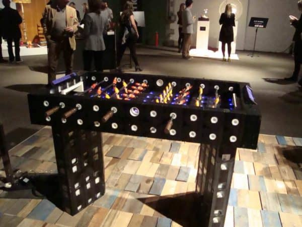 VHS football table in electronics art  with VHS Tape Table Football