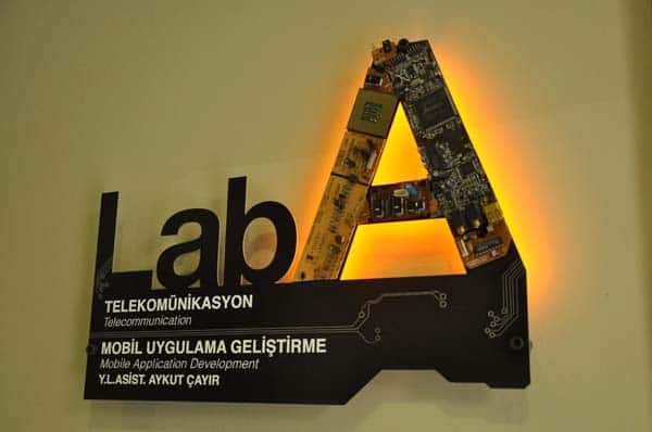 Laboratory Sign Design in electronics  with sign