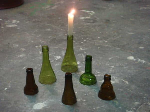 Bottle neck candle holders in glass diy  with Wine Glass Beer
