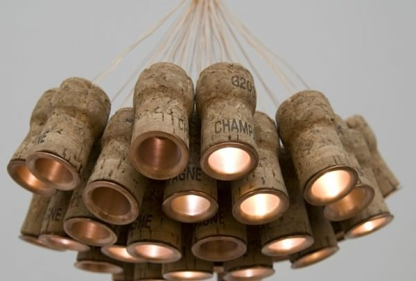 Champagne Chandelier 600x406 Chandelier from recycled Champagne corks  in lights  with cork Chandelier champagne
