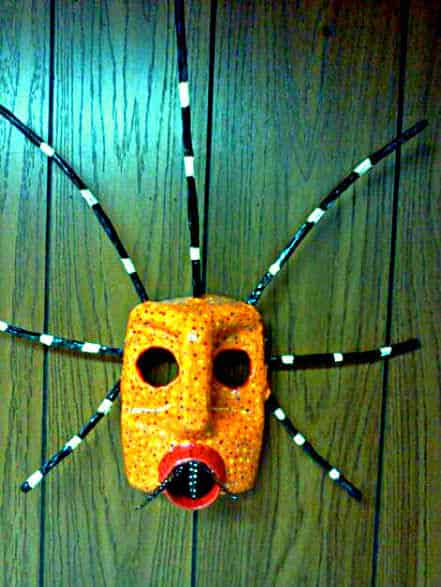 Vejigante Mask (Puerto Rican Carnival Mask) in plastics art  with Paper mache