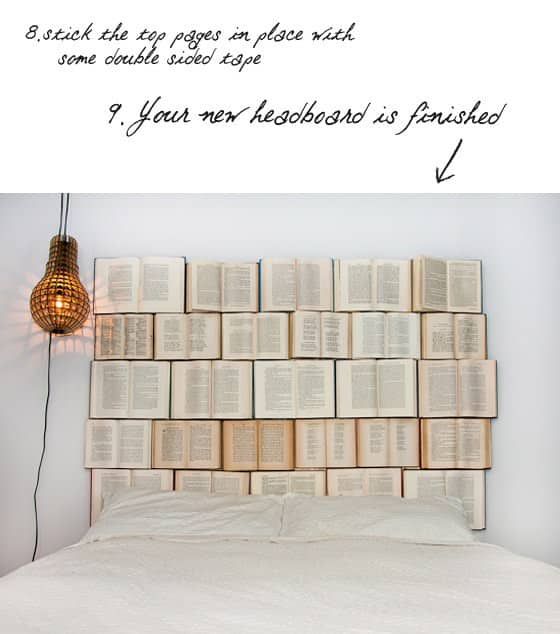 DIY : book headboard in paper diy  with home headboard Books Bed