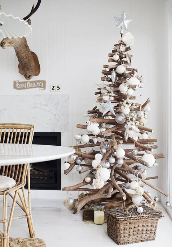Branches Christmas tree in wood social diy accessories  with Wood Christmas branch