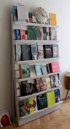 Pallet as bookshelves