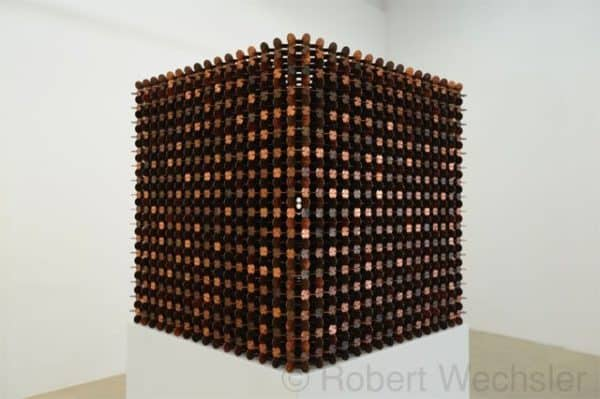Cubes made of 1000 pennies in metals art  with Sculpture pennies