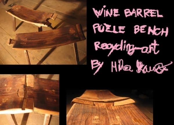 Wine barrel puzzle bench Recycled Furniture Wood & Organic