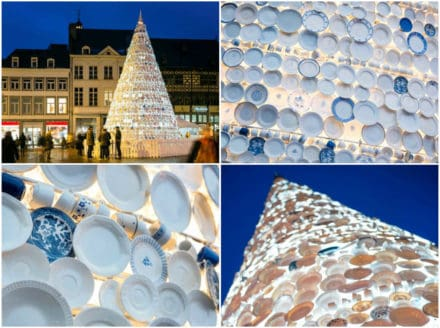 Christmas Tree Made Of 5,000 Donated Ceramic Dishes & Cups