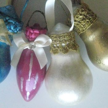 Light Bulbs Upcycled Into Xmas Tree Ornaments
