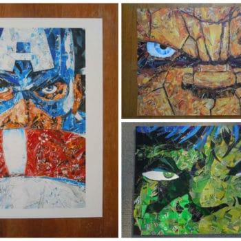Recycled Collage Superheroes