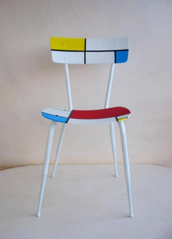 Recycled chair Mondrian in furniture  with upcycled furniture Upcycled Recycled Art Recycled Polish mondrian maria fiter Ecodesign design