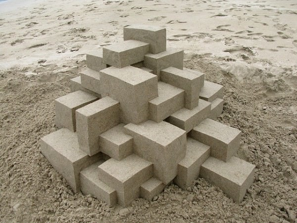 Geometric sandcastles by Calvin Seibert in wood social art diy  with summer sand Beach