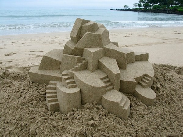 sand 5 600x449 Geometric sandcastles by Calvin Seibert in wood social diy art  with summer sand Beach