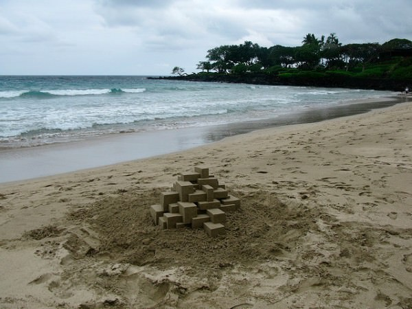 sand 9 600x450 Geometric sandcastles by Calvin Seibert in wood social diy art  with summer sand Beach