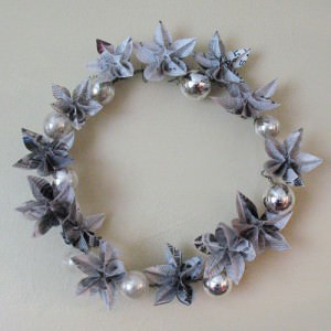 Newspapers origami wreath