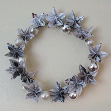 Newspapers origami wreath