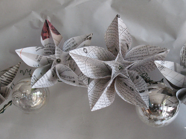 Newspapers origami wreath in paper diy  with Wreath Upcycled Paper & Books Ornament origami Newspaper Holiday Glass Flowers Christmas