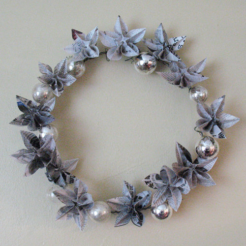 wreath Newspapers origami wreath in paper diy  with Wreath Upcycled Paper &amp; Books Ornament origami Newspaper Holiday Glass Flower Christmas 