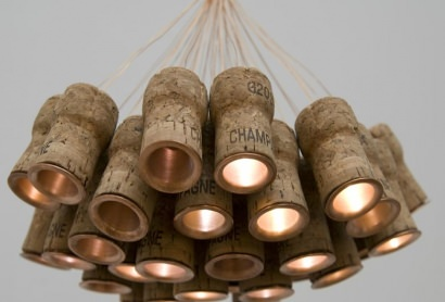 Chandelier from recycled Champagne corks