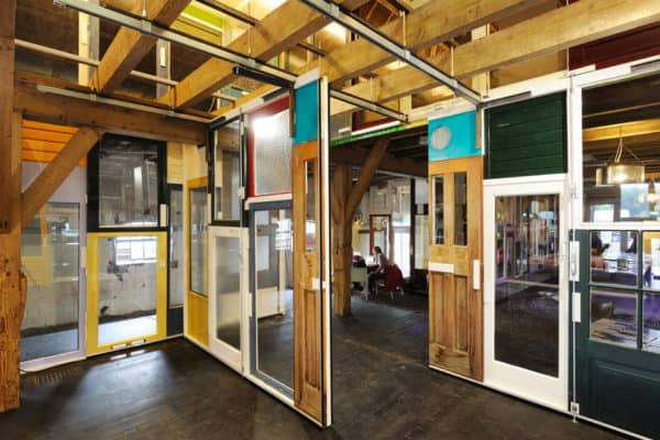 Walls from old doors in architecture  with wall Upcycled Recycled Door DIY Architecture