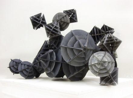 "Interlocking Cardboard Sculpture ""Faux Metal Machine"""