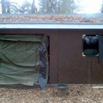 Military tent door & TV tube / glass front window