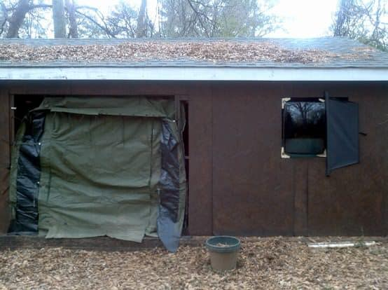 Military tent door & TV tube / glass front window in architecture  with window Television Door