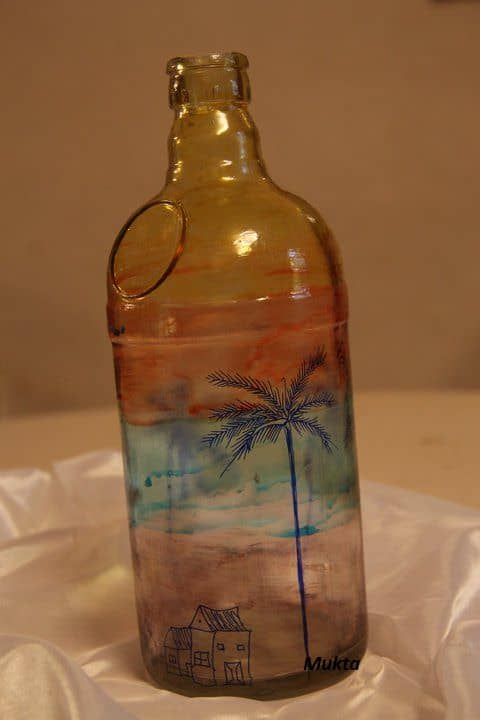 Used Bottles Converted into Flower Vases Accessories Do-It-Yourself Ideas Recycled Glass