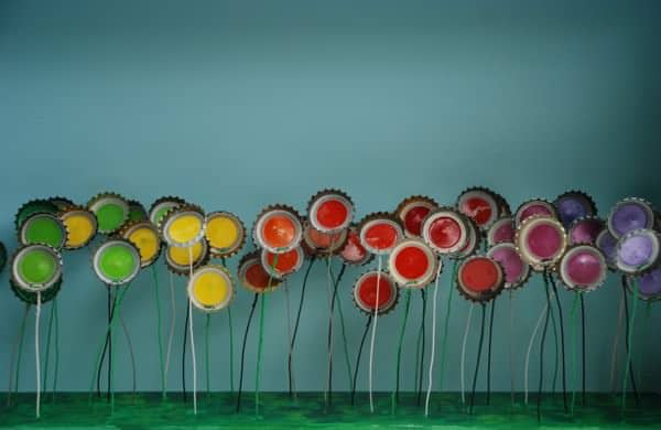 Field of Beer in art  with Sculpture Recycled reclaimed mixed media Metal Flowers