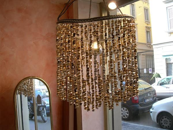 Chandelier Made of 60 Repurposed Coffee Bags Bike & Friends Lamps & Lights Recycled Packaging