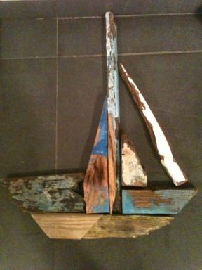 Driftwood sailingboat