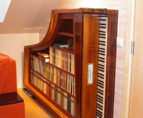 Repurposed piano book case Piano bookshelf in furniture  with piano Bookshelf Book 