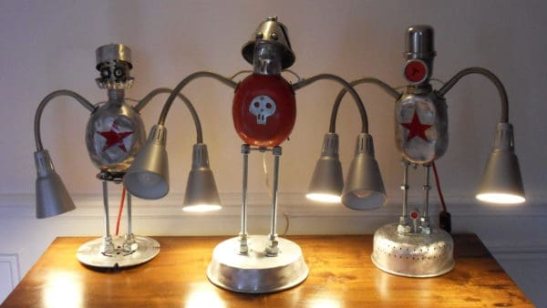 Lamps Robots Assemblage Lamps & Lights Recycled Art