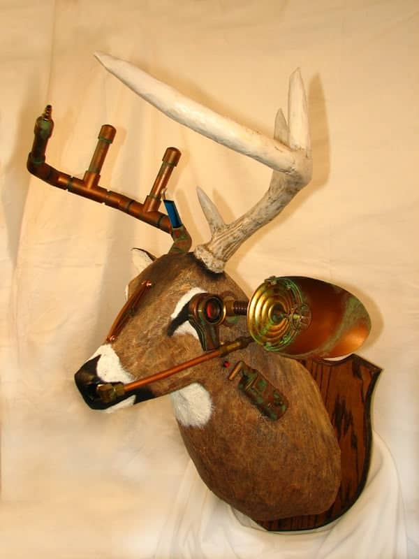 Steampunk Whitetail Deer in art  with Upcycled steampunk Sculpture Repurposed Recycled reclaimed Paper mache Pallets