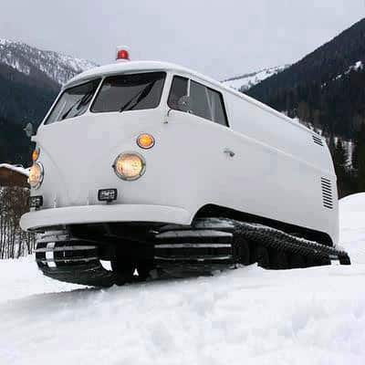 VW Snow tracks from VW van in metals  with snow Music dj Automotive