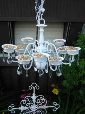 Bird feeder from old chandelier
