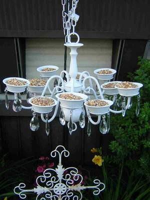 Bird feeder from old chandelier