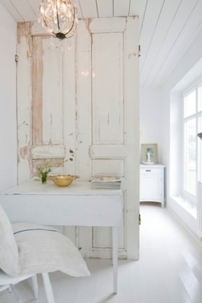 Old door as room divider