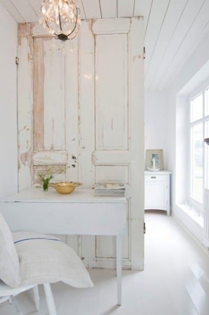 Old door as room divider