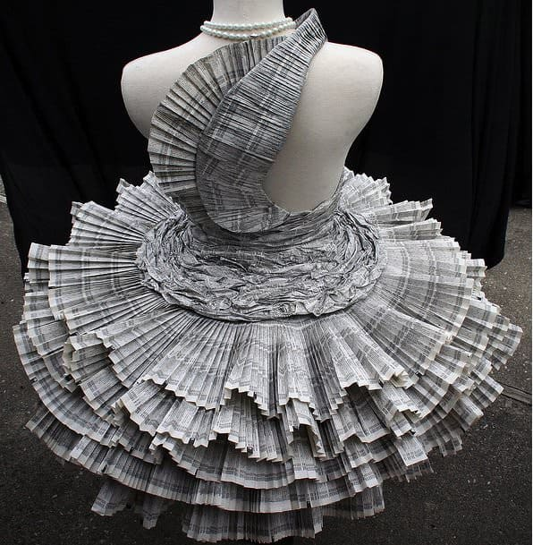 Upcycled Phone Book Dress in paper fabric  with phone books Paper & Books Dress