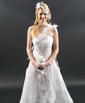 Recycled milk bottles wedding dress