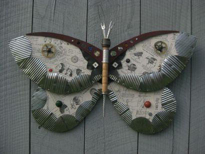 Found object moths and butterflies
