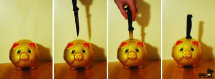 Piggy Bank Knife Holder