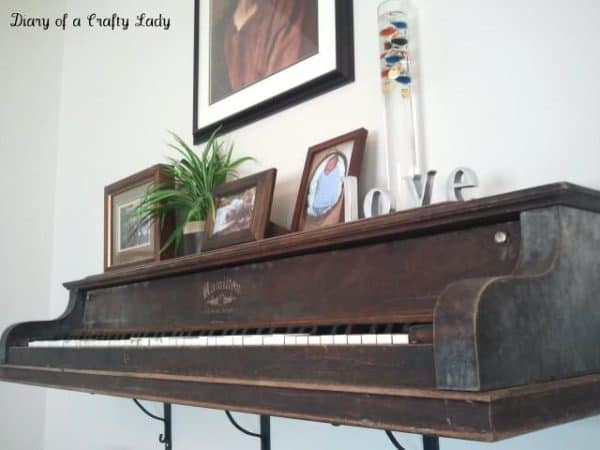 Piano wall shelf in furniture  with Shelves Piano