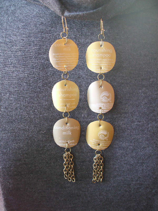 Goldie's Glamorous Goldtone Earrings Accessories Recycled Packaging Recycled Plastic Upcycled Jewelry Ideas