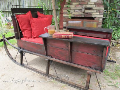 Cutter sleigh turned into bed, before-after