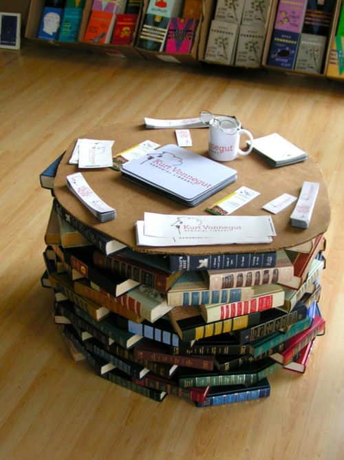 Books coffee table in furniture paper  with upcycled furniture Table DIY Coffee Books