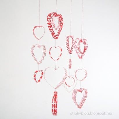 Mobile heart with plastic bottles