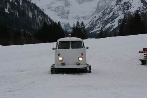 Snow tracks from VW van in metals  with snow Music dj Automotive
